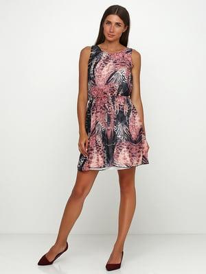 Сукня чорно-рожева з принтом | 5503330