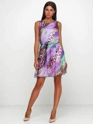 Сукня бузкова з анімалістичним принтом  | 5503334