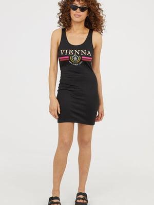 Сукня чорна з принтом | 5505639