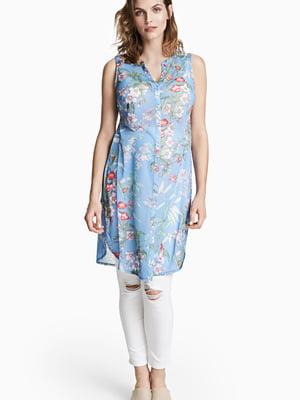 Туника голубая в цветочный принт | 5506317