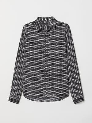 Рубашка черная в принт | 5506419