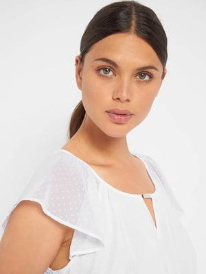 Блуза біла в однотонний горошок | 5519876