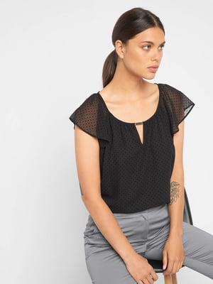 Блуза чорна в однотонний горошок | 5519877