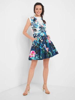 Спідниця синя з квітковим принтом | 5519986