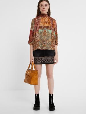 Блуза коричнева в принт | 5520034