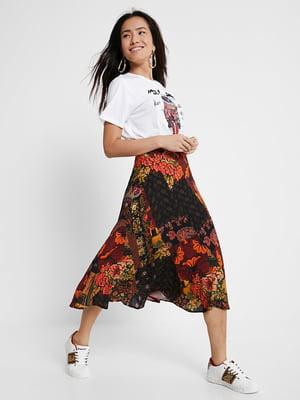 Спідниця чорна з квітковим принтом | 5520041