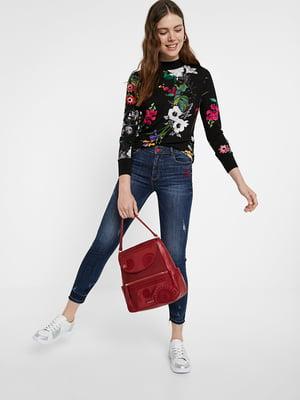 Блуза чорна з квітковим принтом | 5520055
