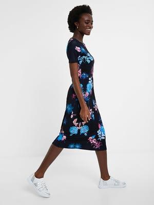 Сукня синя в квітковий принт   5520059