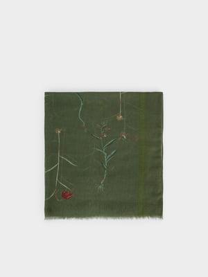 Шарф кольору хакі з квітковою вишивкою | 5520397