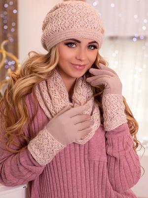 Комплект (шапка, снуд и перчатки) кремового цвета | 5519520