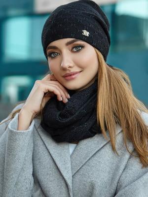 Комплект (шапка і снуд) чорний | 5519604