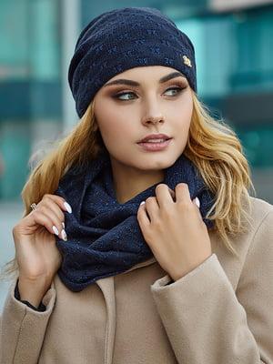 Комплект (шапка і снуд) темно-синій | 5519608