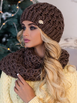 Комплект (шапка і шарф) коричневий | 5519508