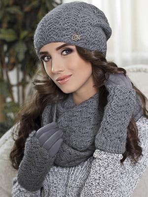 Комплект (шапка, снуд і рукавички) темно-сірий | 5363510