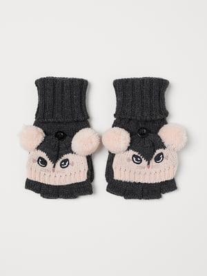 Перчатки серо-розовые | 5511071