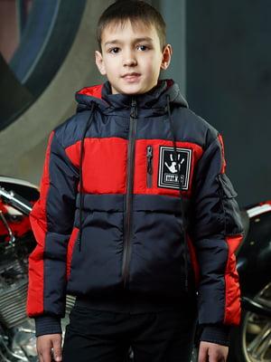 Куртка синьо-червоного кольору з логотипом | 5523275