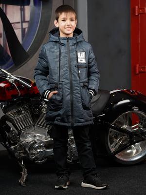 Куртка синя в камуфляжний принт | 5523291