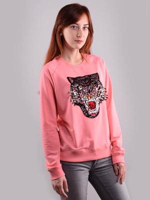 Світшот рожевий з декором | 5522349