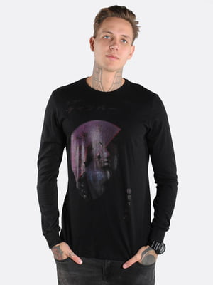 Лонгслив черный с принтом | 5522413