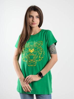 Футболка зелена з принтом | 5522478