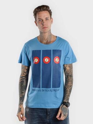 Футболка голубая с принтом | 5522724