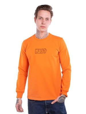Свитшот оранжевый с принтом | 5522870