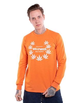 Свитшот оранжевый с принтом | 5522896