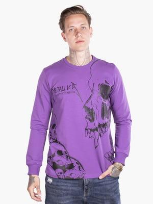 Лонгслив фиолетовый с принтом | 5522920