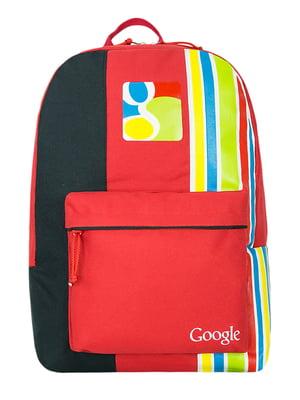 Рюкзак красный в принт и полоску | 5525397