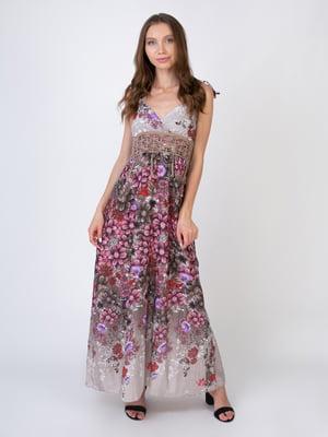 Сарафан коричнево-рожевий в квітковий принт | 5507777