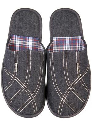 Тапочки джинсового кольору в візерунок і клітинку | 5516565