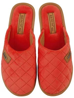 Тапочки коралового кольору в ромб | 5516573