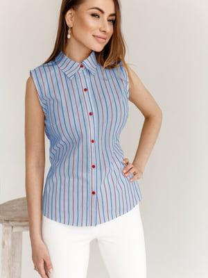 Рубашка голубая в полоску | 5525481