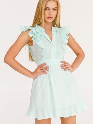 Платье бирюзового цвета в принт | 5525482