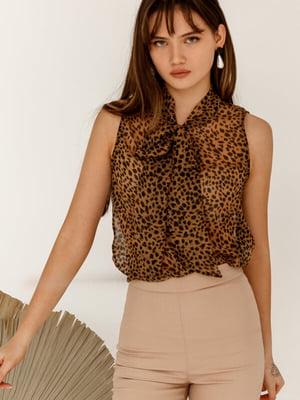 Блуза коричневая в принт | 5525489