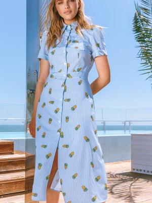 Сукня блакитна в принт | 5525517
