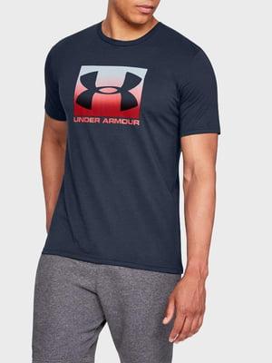 Футболка синя з логотипом-принтом | 5493019
