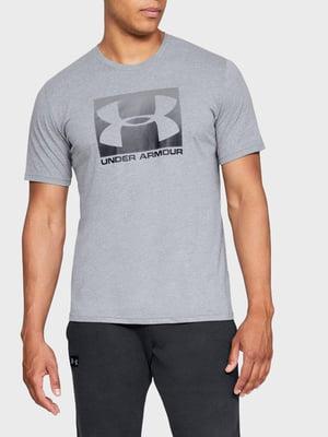 Футболка сіра з логотипом-принтом | 5493082