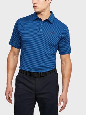 Футболка-поло синяя с логотипом и в полоску | 5493358
