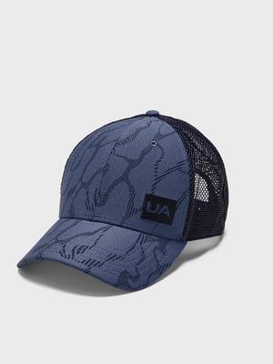 Кепка синяя с логотипом и в принт | 5493437