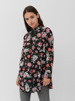 Блуза черная в цветочный принт | 5456933