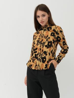 Блуза коричневая в цветочный принт | 5515522