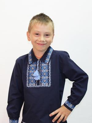 Рубашка-вышиванка синяя | 5248352