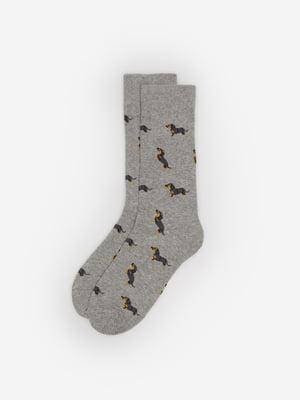Шкарпетки сірі в принт | 5526272