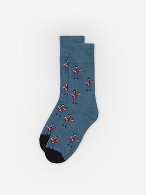Носки синие в принт | 5526273