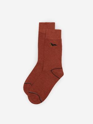 Носки терракотового цвета с принтом | 5526278