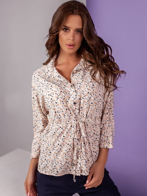 Блуза кольору пудри з принтом | 5527572