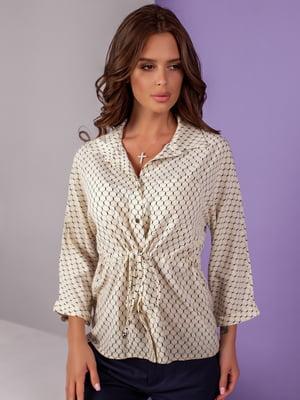Блуза бежевая с принтом | 5527574