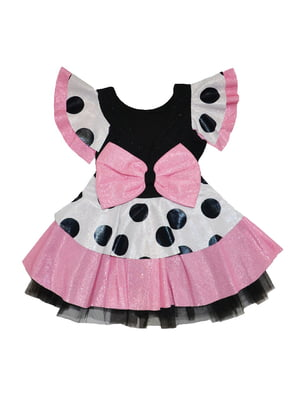 Сукня біло-рожева в горох | 5528032
