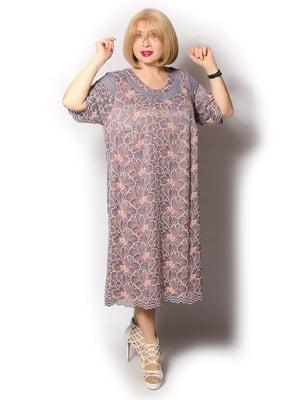 Сукня кольору пудри з квітковим візерунком | 5528084